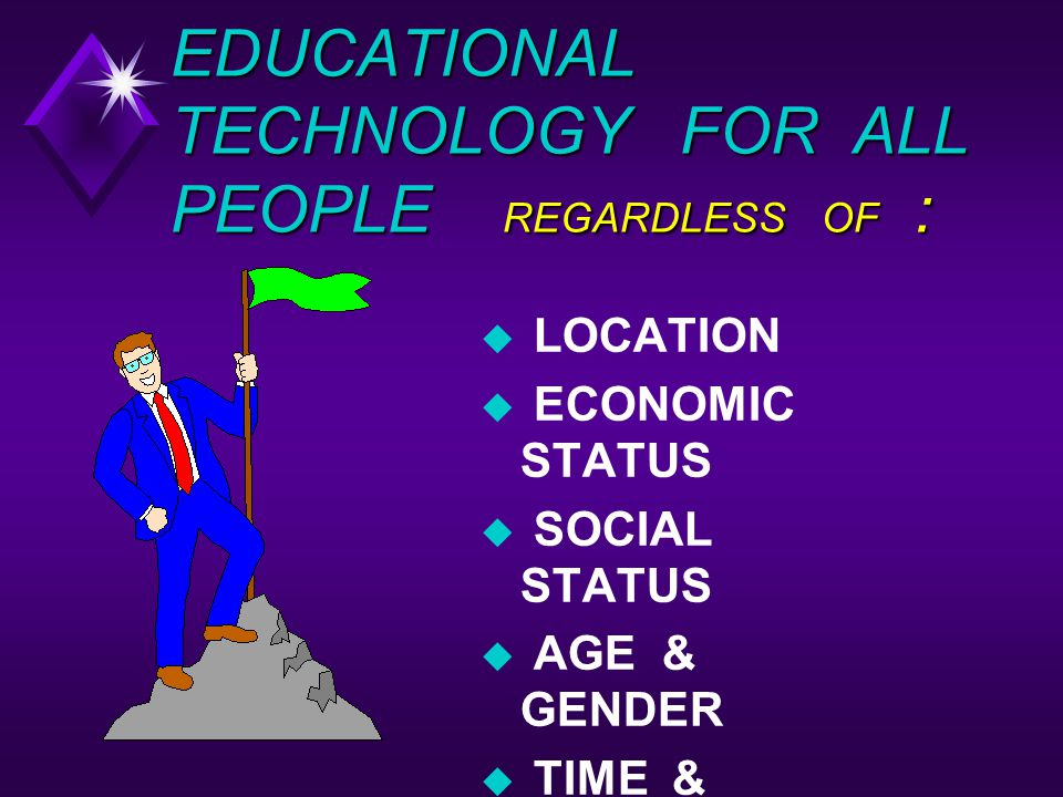 EDUCATIONAL TECHNOLOGY FOR ALL PEOPLE REGARDLESS OF :
