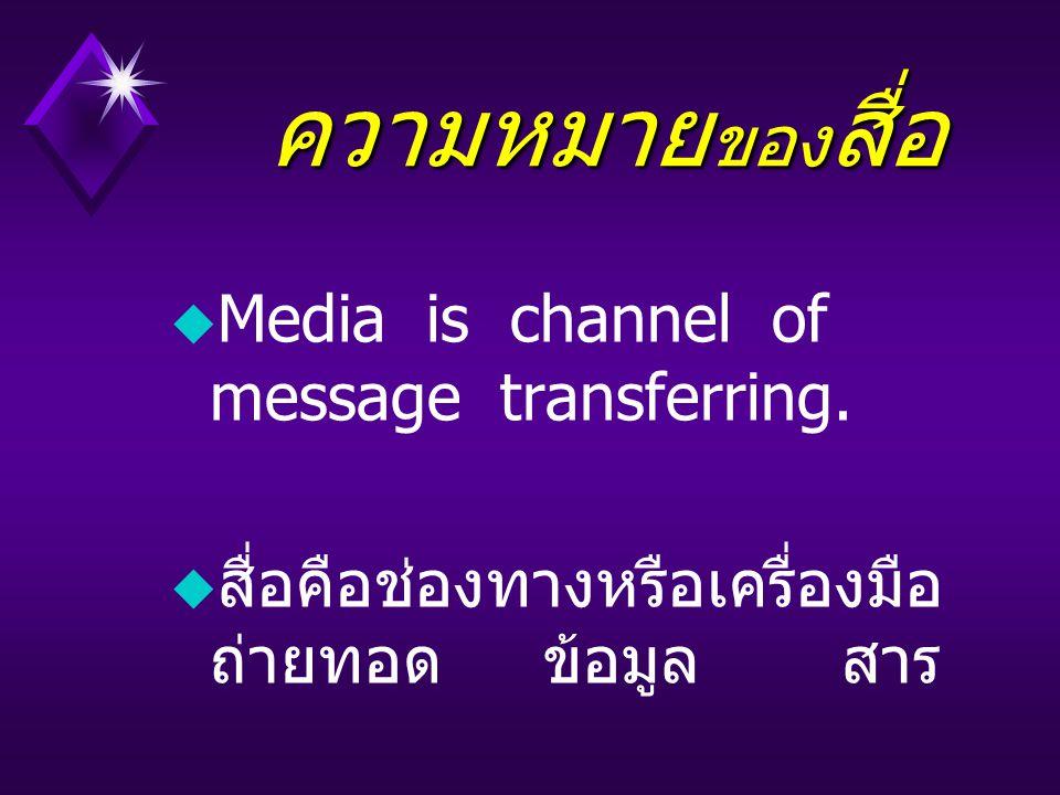 ความหมายของสื่อ Media is channel of message transferring.