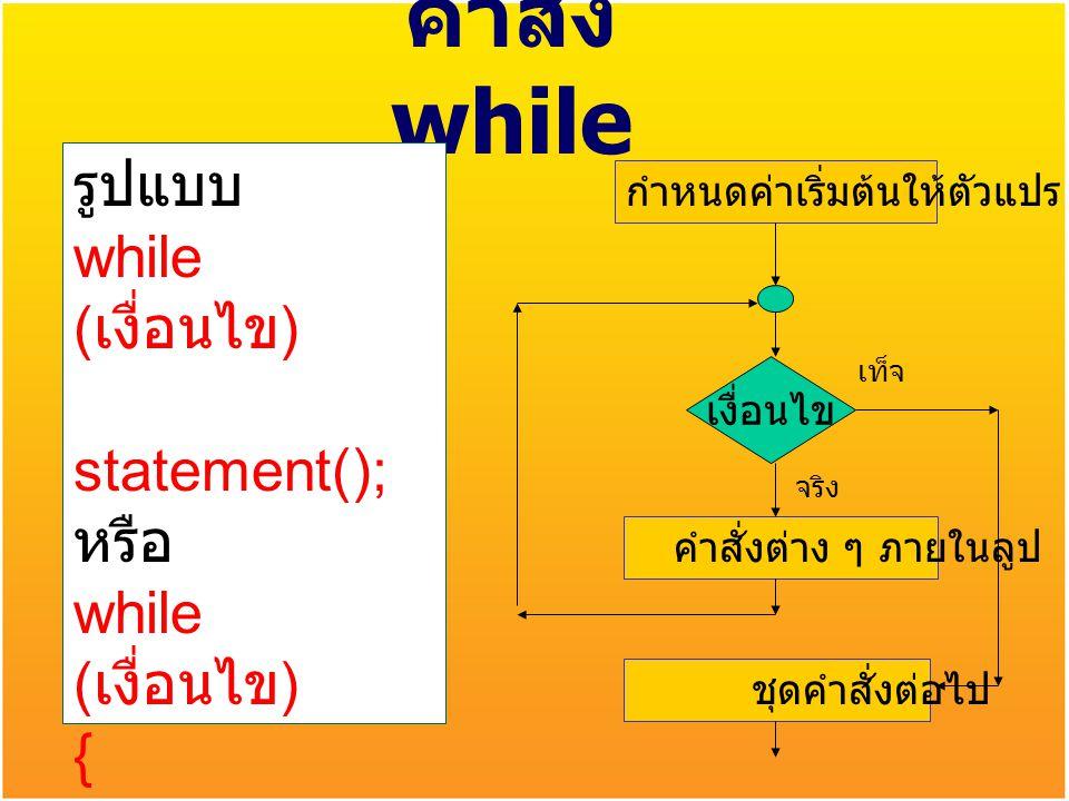 คำสั่ง while รูปแบบ while (เงื่อนไข) statement(); หรือ { statements();