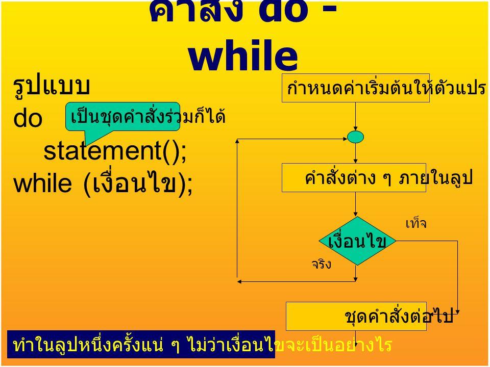คำสั่ง do - while รูปแบบ do statement(); while (เงื่อนไข);