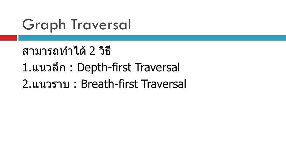 Graph Traversal สามารถทำได้ 2 วิธี 1. แนวลึก : Depth-first Traversal