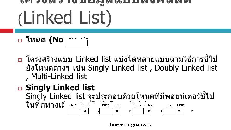 โครงสร้างข้อมูลแบบลิงค์ลิสต์ (Linked List)