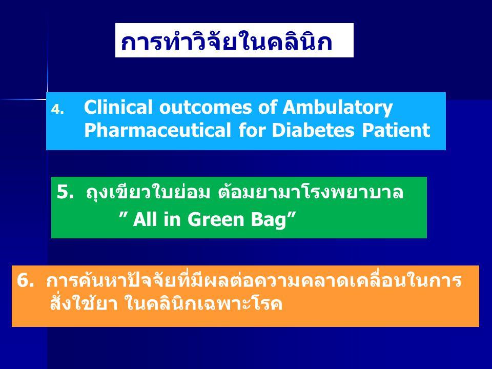 การทำวิจัยในคลินิก Clinical outcomes of Ambulatory Pharmaceutical for Diabetes Patient. 5. ถุงเขียวใบย่อม ต้อมยามาโรงพยาบาล.