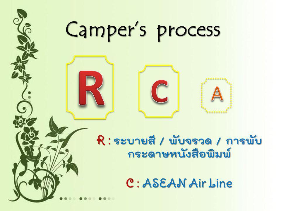 R : ระบายสี / พับจรวด / การพับกระดาษหนังสือพิมพ์ C : ASEAN Air Line