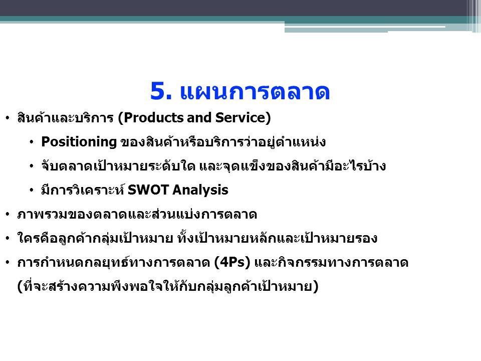 5. แผนการตลาด สินค้าและบริการ (Products and Service)