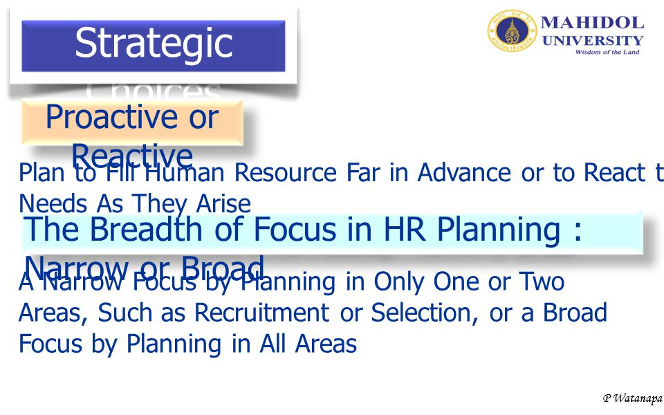 Strategic Choices Proactive or Reactive