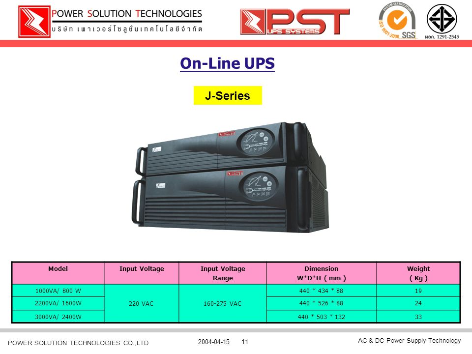 On-Line UPS J-Series Model Input Voltage Range Dimension W*D*H ( mm )