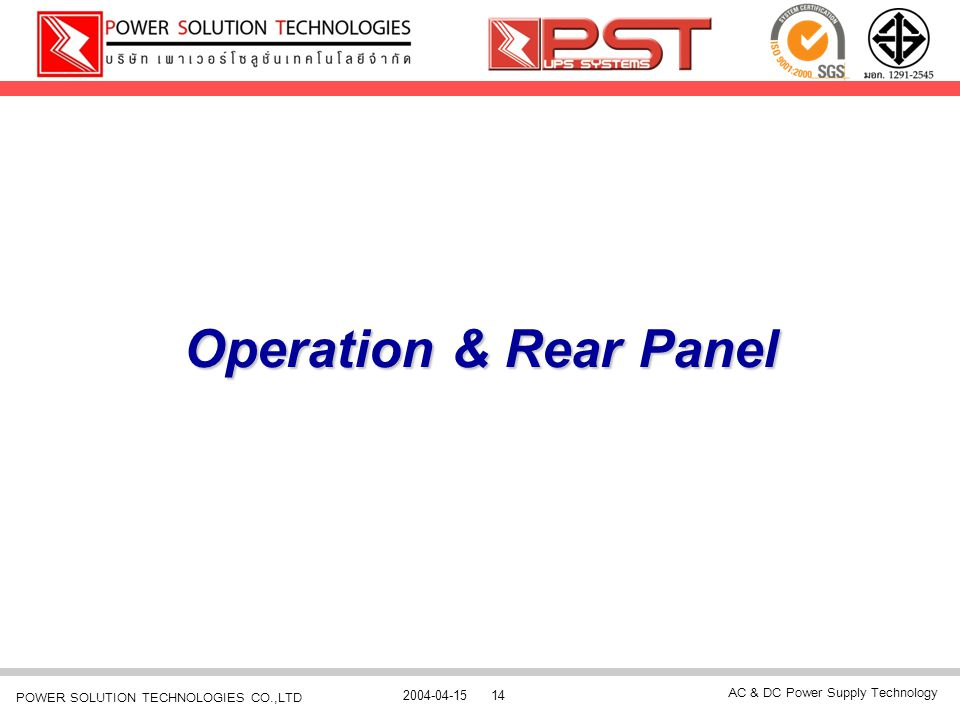 Operation & Rear Panel