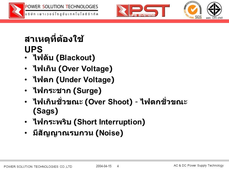 สาเหตุที่ต้องใช้ UPS ไฟดับ (Blackout) ไฟเกิน (Over Voltage)