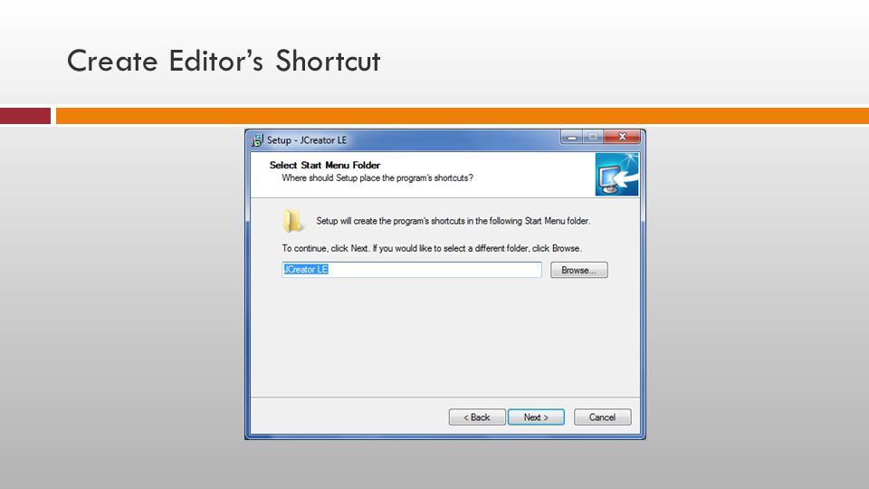 Create Editor's Shortcut