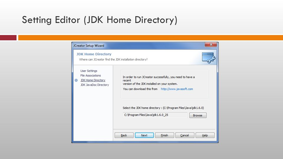Setting Editor (JDK Home Directory)