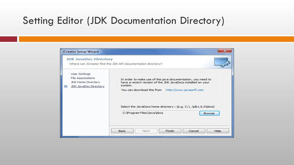Setting Editor (JDK Documentation Directory)