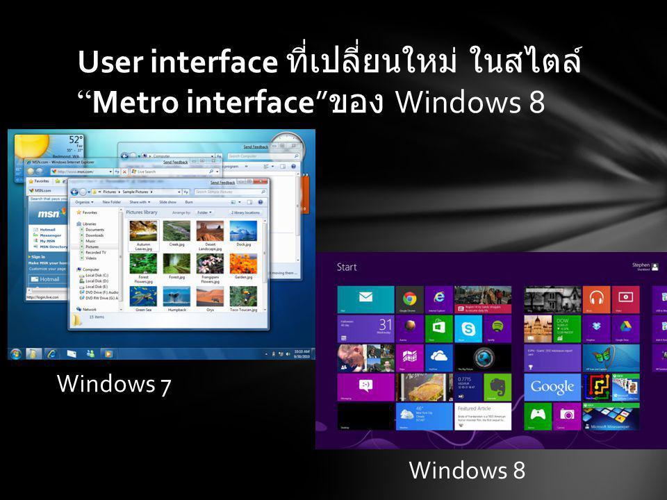 User interface ที่เปลี่ยนใหม่ ใน สไตล์ Metro interface ของ Windows 8