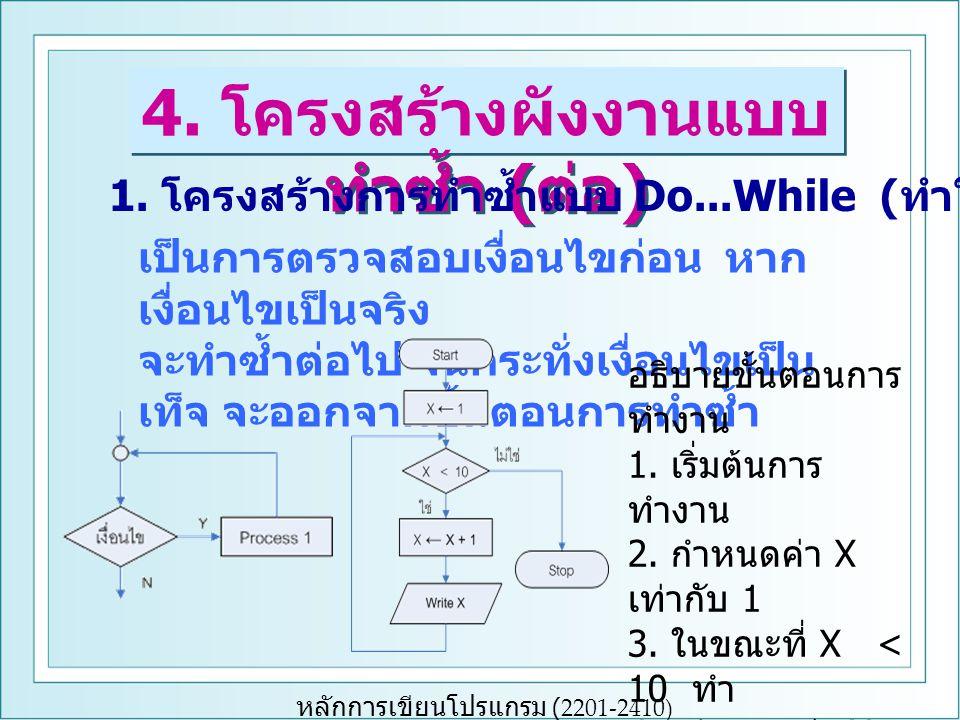 4. โครงสร้างผังงานแบบทำซ้ำ (ต่อ)