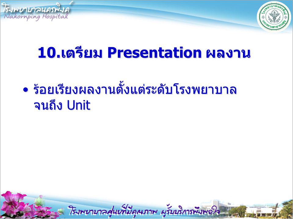 10.เตรียม Presentation ผลงาน