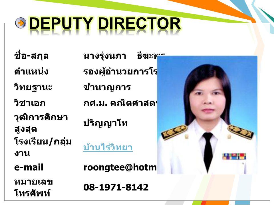 DEPUTY DIRECTOR ชื่อ-สกุล นางรุ่งนภา ธีฆะพร ตำแหน่ง