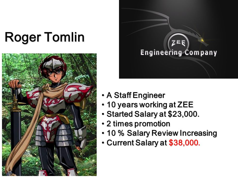Roger Tomlin A Staff Engineer 10 years working at ZEE