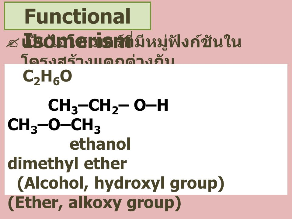 Functional Isomerism เป็นไอโซเมอร์ที่มีหมู่ฟังก์ชันในโครงสร้างแตกต่างกัน. C2H6O. CH3–CH2– O–H CH3–O–CH3.
