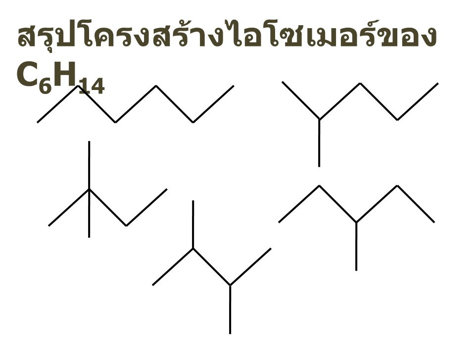 สรุปโครงสร้างไอโซเมอร์ของ C6H14