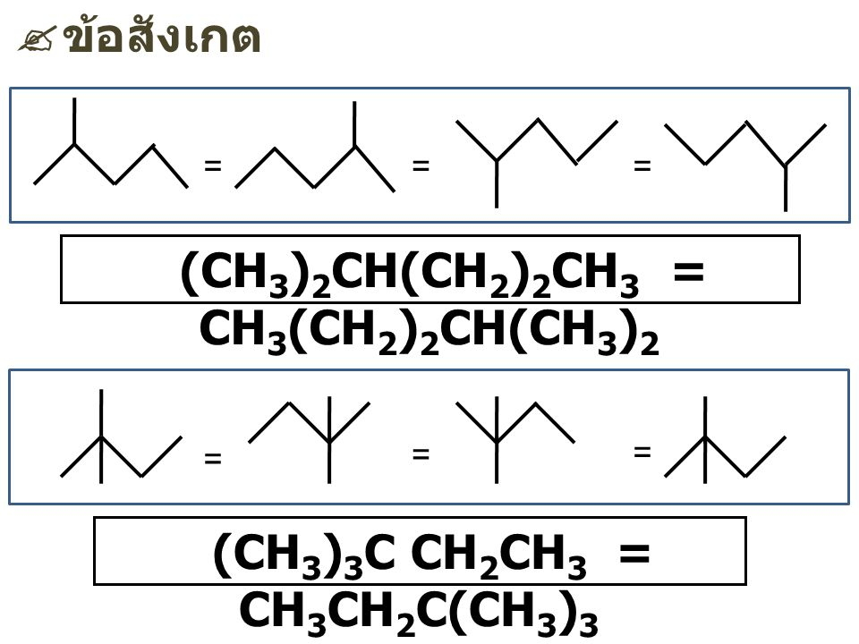 (CH3)2CH(CH2)2CH3 = CH3(CH2)2CH(CH3)2