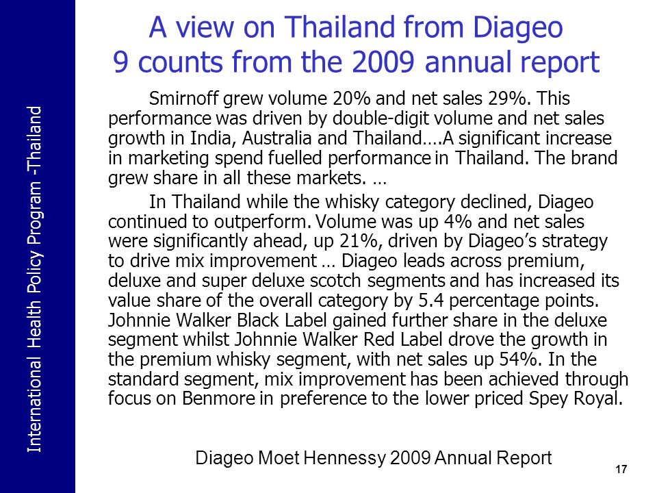A view on Thailand from Diageo 9 counts from the 2009 annual report