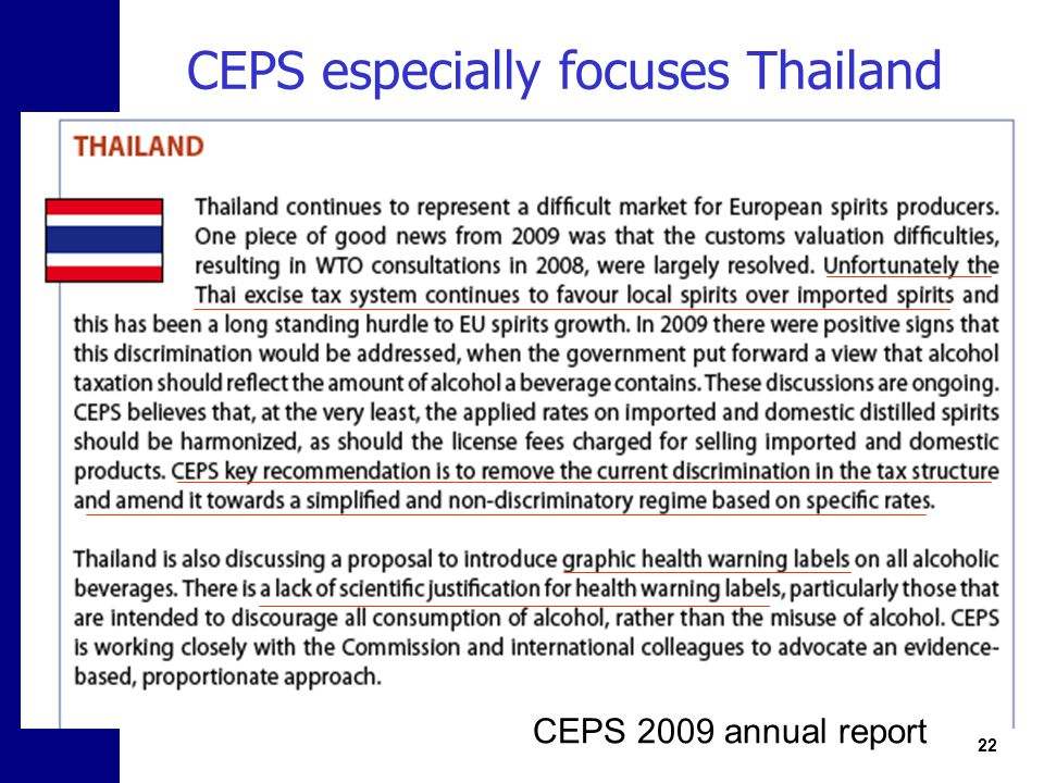 CEPS especially focuses Thailand