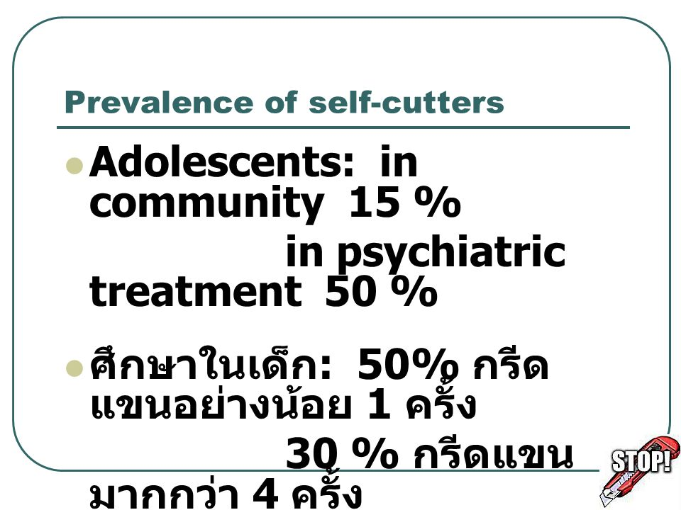 Prevalence of self-cutters