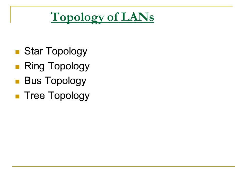 Topology of LANs Star Topology Ring Topology Bus Topology