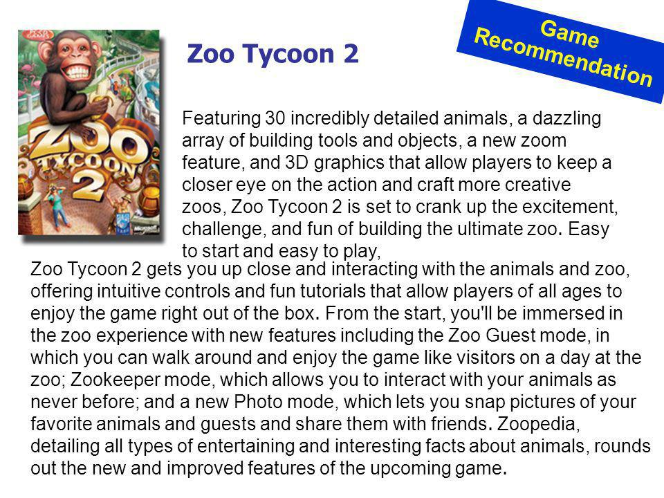 Zoo Tycoon 2 Game Recommendation