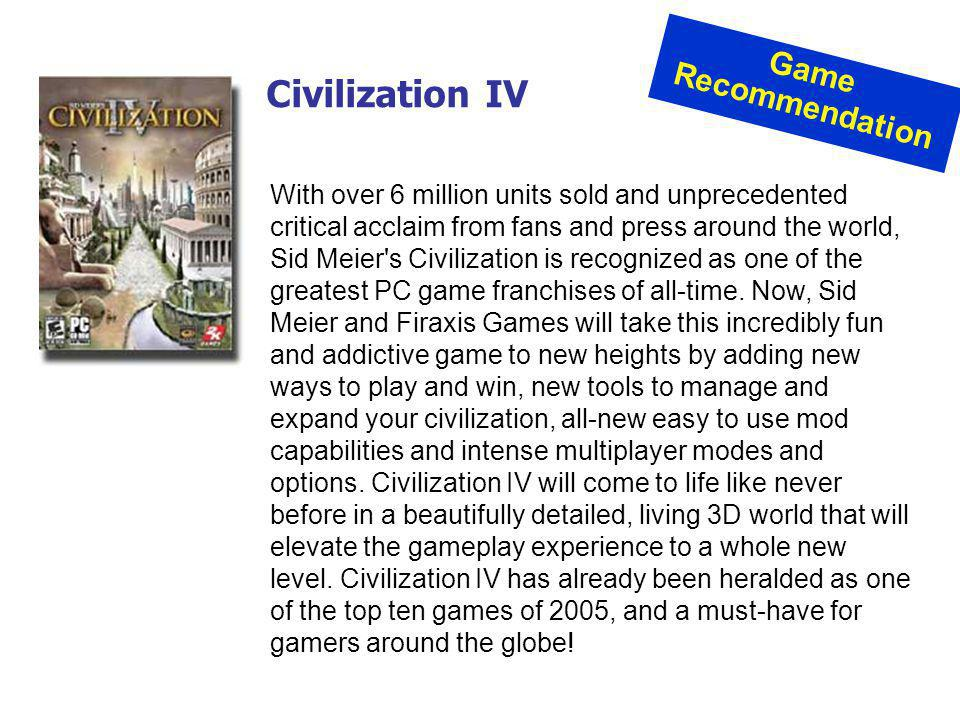 Civilization IV Game Recommendation