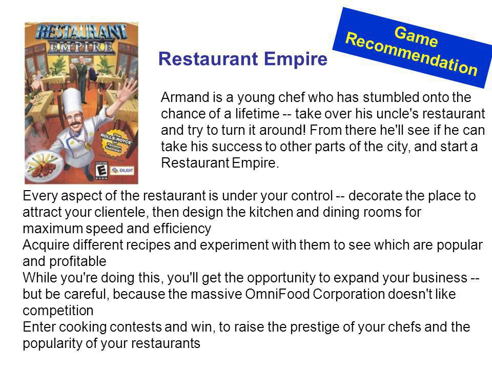 Restaurant Empire Game Recommendation
