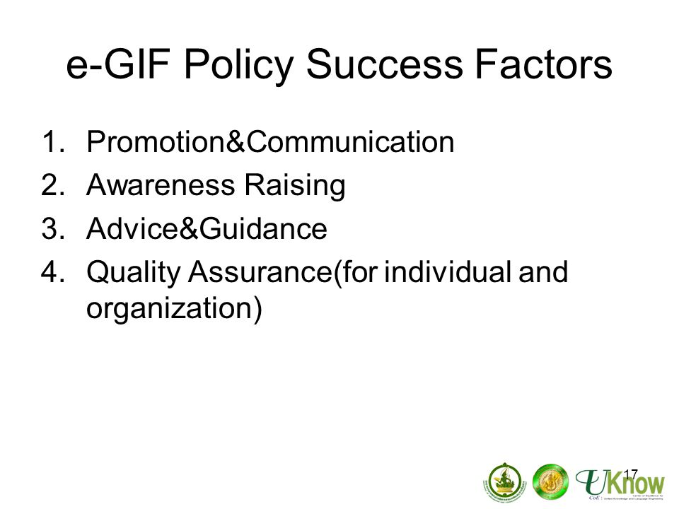 e-GIF Policy Success Factors