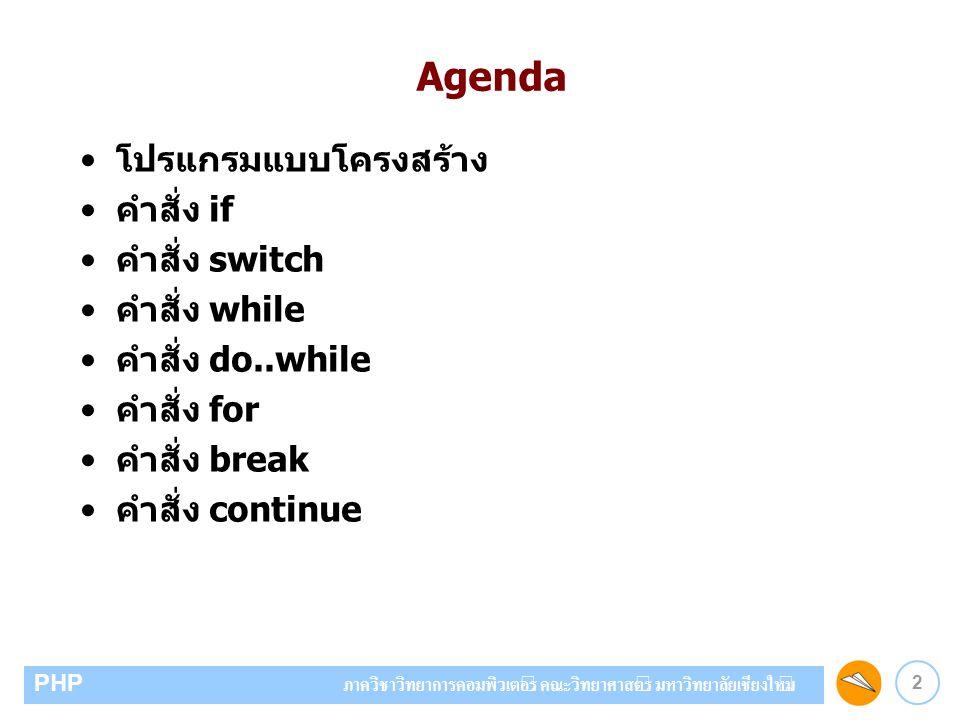 Agenda โปรแกรมแบบโครงสร้าง คำสั่ง if คำสั่ง switch คำสั่ง while