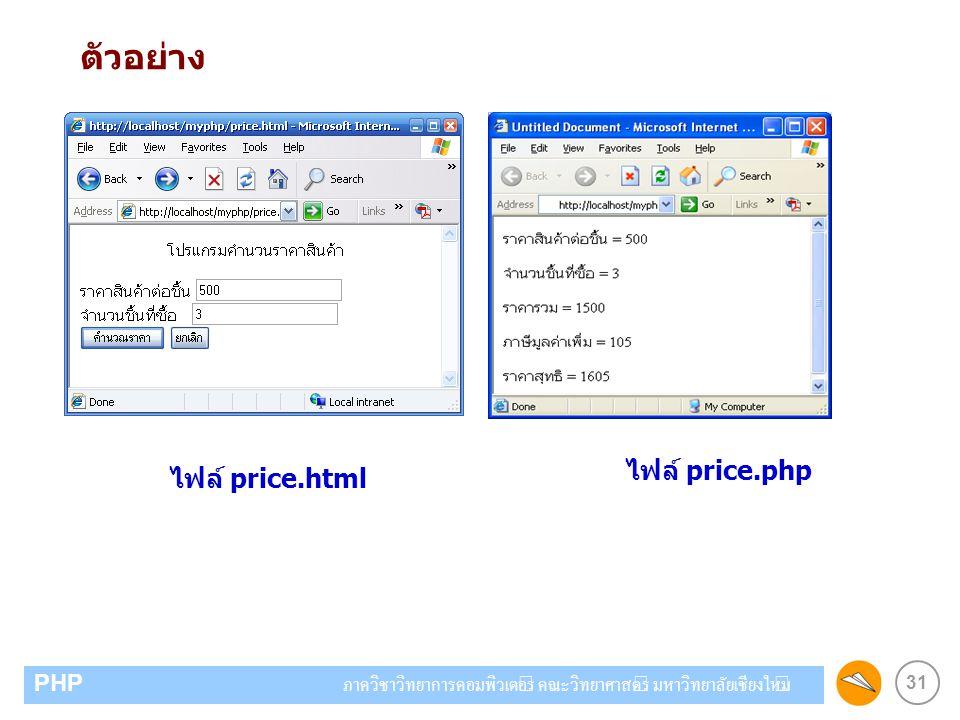 ตัวอย่าง ไฟล์ price.php ไฟล์ price.html