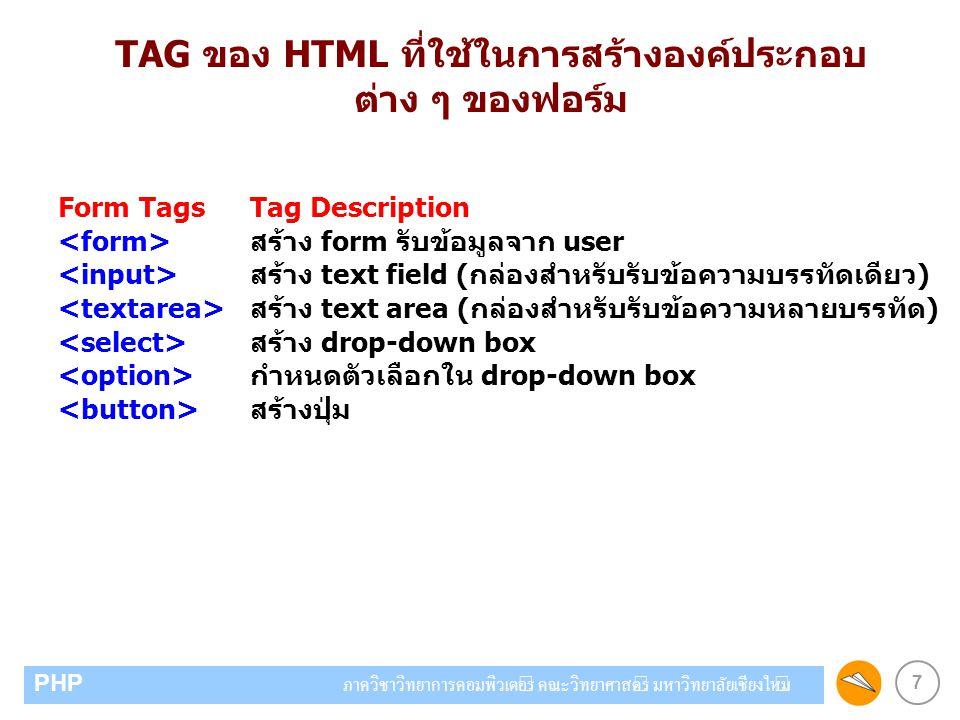 TAG ของ HTML ที่ใช้ในการสร้างองค์ประกอบ ต่าง ๆ ของฟอร์ม
