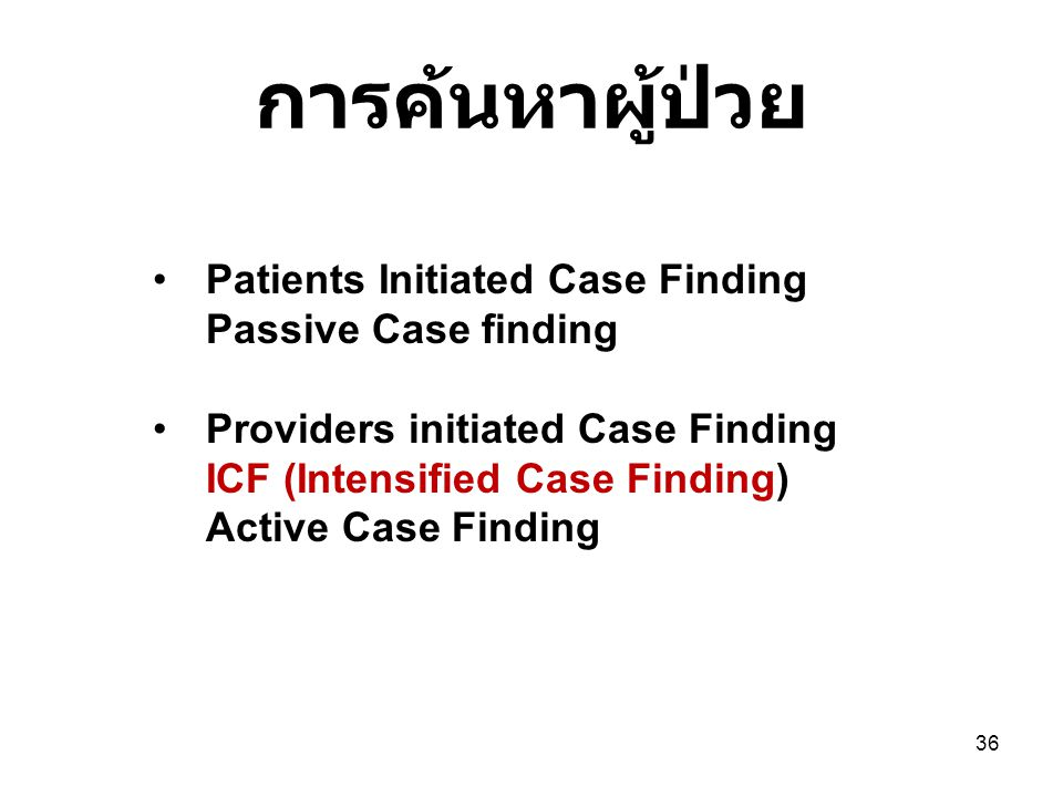 การค้นหาผู้ป่วย Patients Initiated Case Finding Passive Case finding