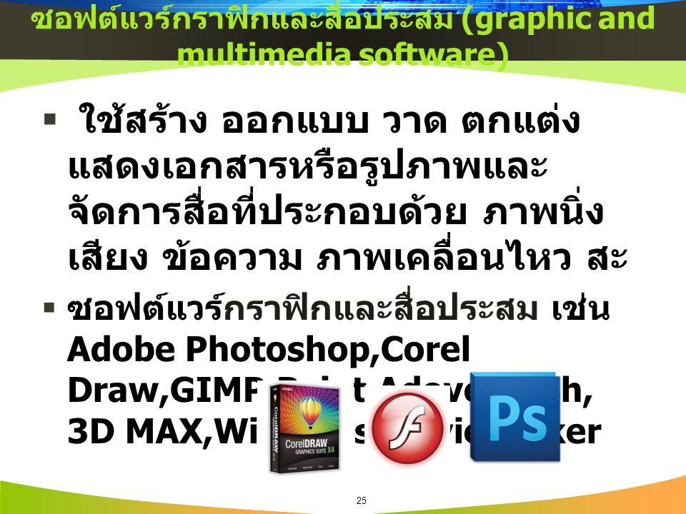 ซอฟต์แวร์กราฟิกและสื่อประสม (graphic and multimedia software)