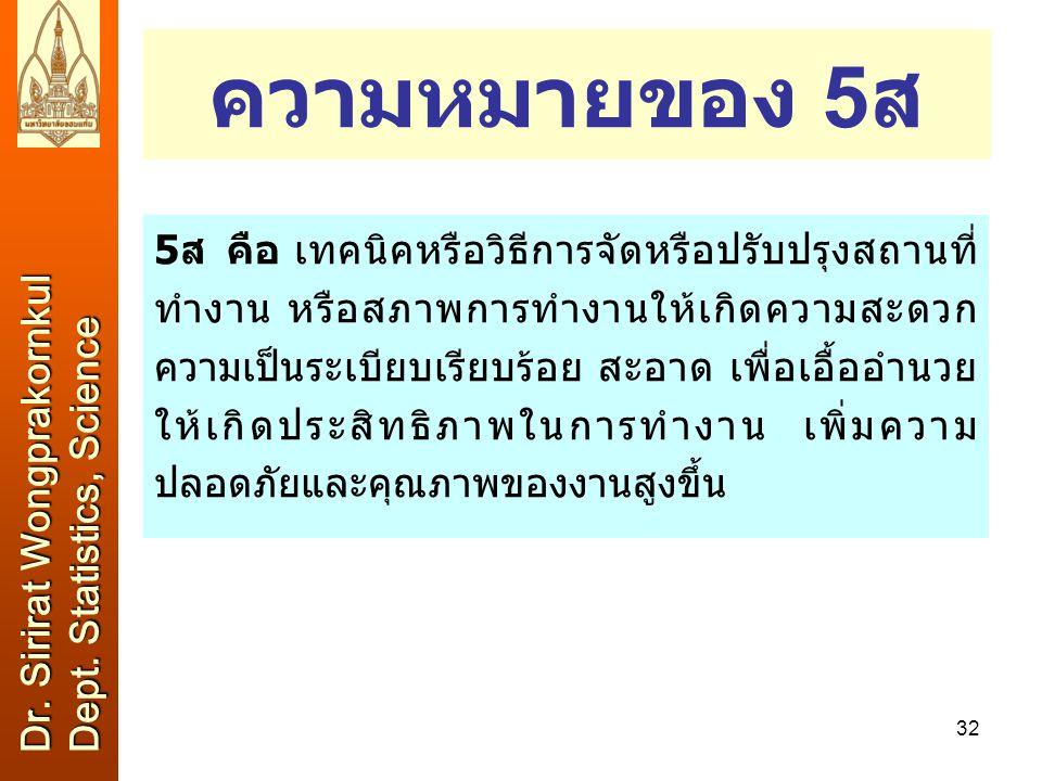 ความหมายของ 5ส Dr. Sirirat Wongprakornkul Dept. Statistics, Science