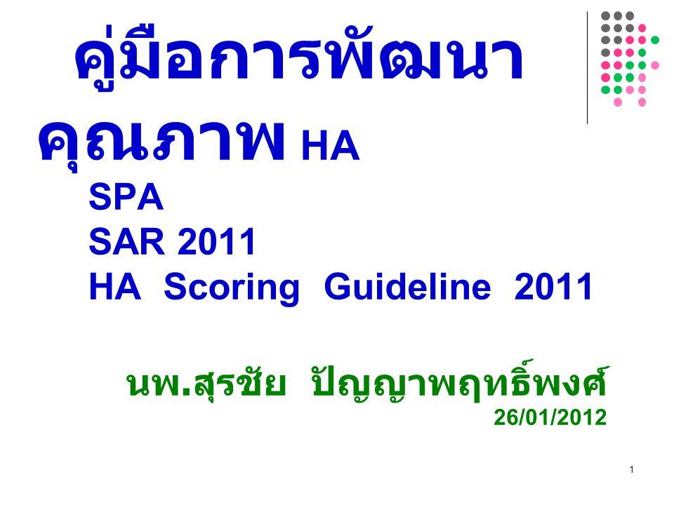 คู่มือการพัฒนาคุณภาพ HA SPA SAR 2011 HA Scoring Guideline 2011