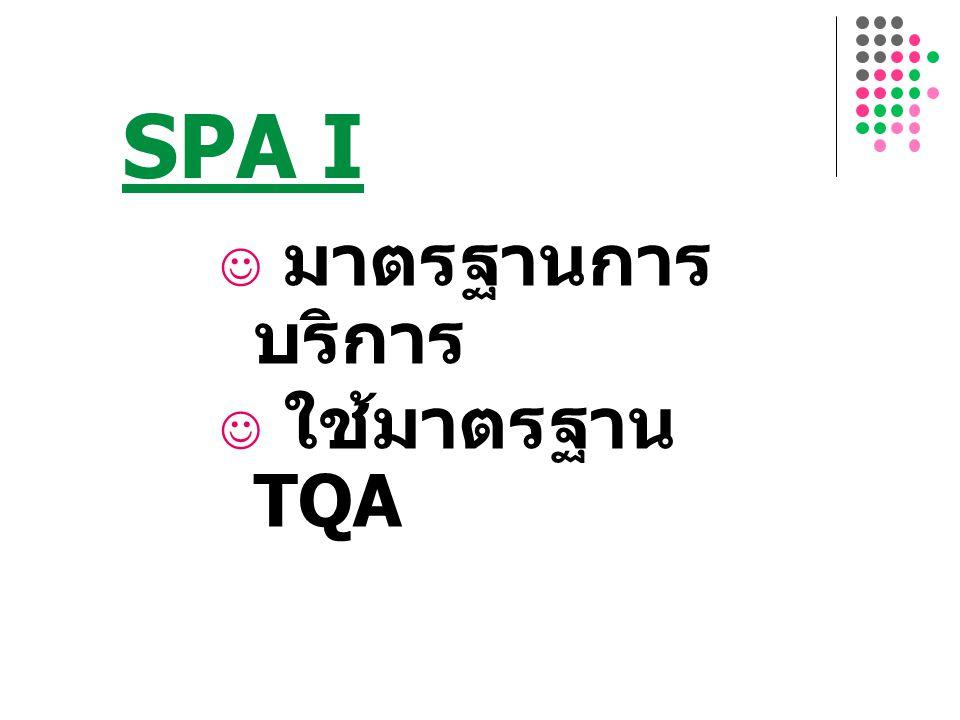 SPA I 9 มาตรฐานการบริการ ใช้มาตรฐาน TQA