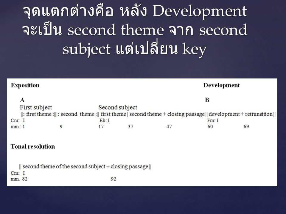 จุดแตกต่างคือ หลัง Development จะเป็น second theme จาก second subject แต่เปลี่ยน key