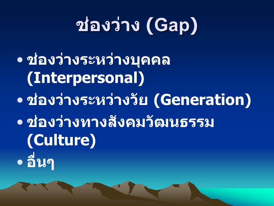 ช่องว่าง (Gap) ช่องว่างระหว่างบุคคล (Interpersonal)
