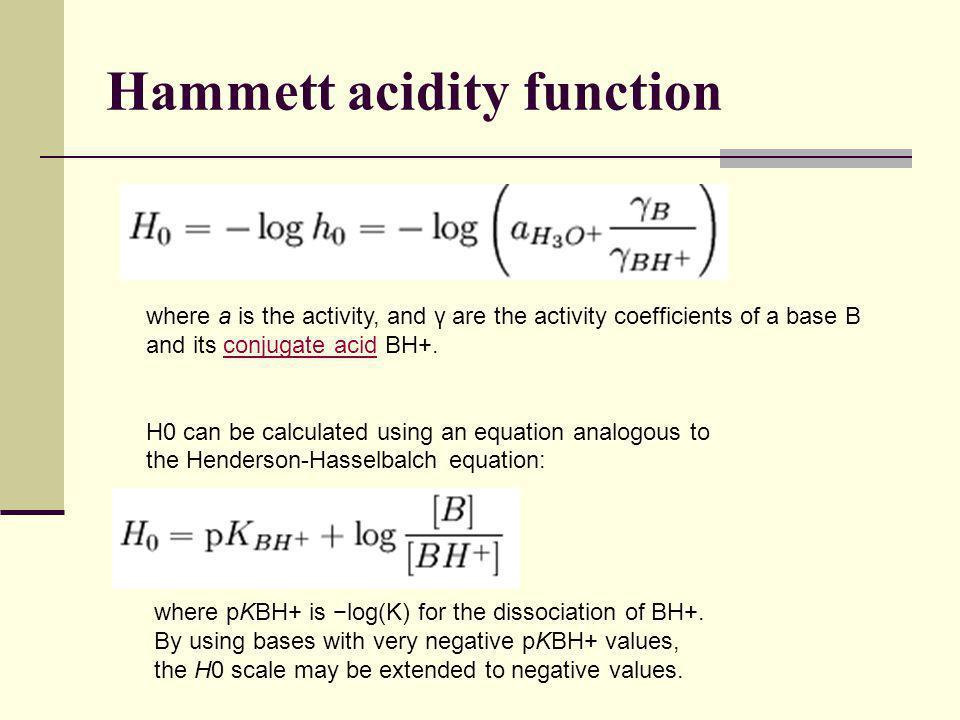 Hammett acidity function