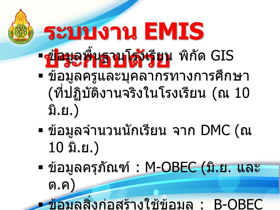 ระบบงาน EMIS ประกอบด้วย