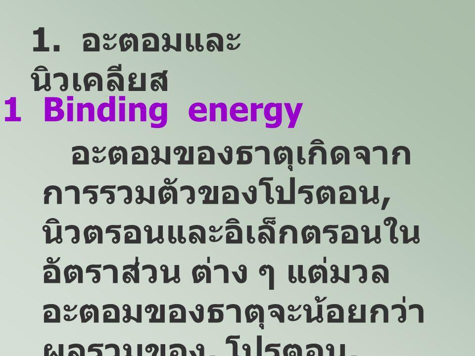 1. อะตอมและนิวเคลียส 1.1 Binding energy.