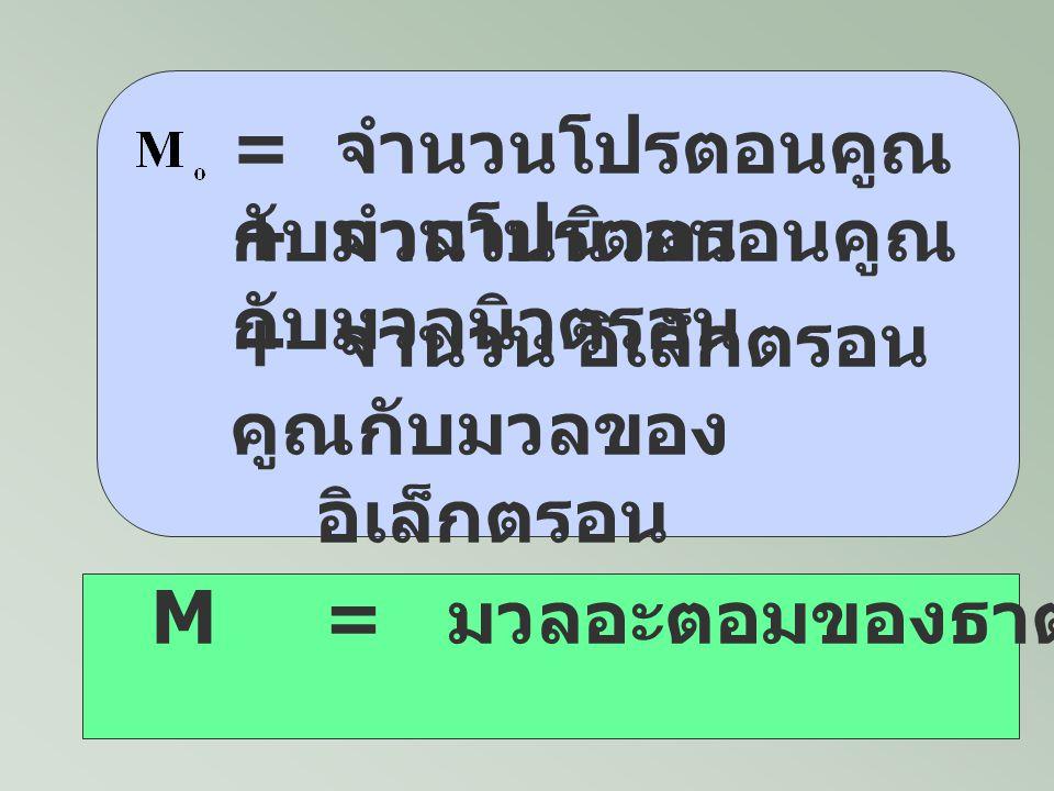 = จำนวนโปรตอนคูณกับมวลโปรตอน
