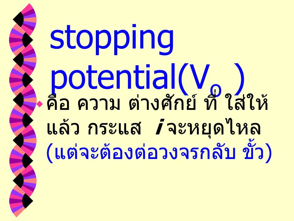 stopping potential(Vo )