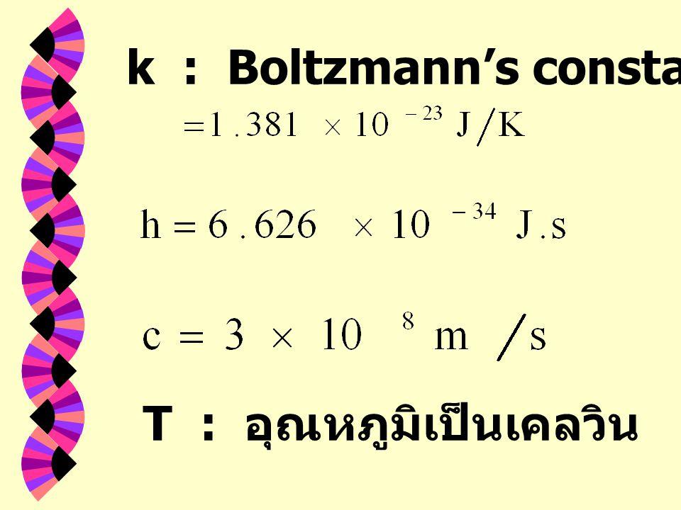 k : Boltzmann's constant