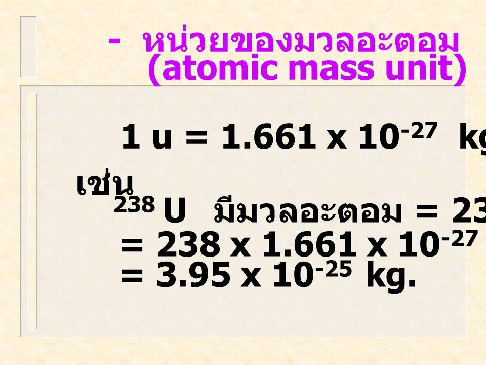 - หน่วยของมวลอะตอม (atomic mass unit) 1 u = 1.661 x 10-27 kg. เช่น. 238 U มีมวลอะตอม = 238 U.