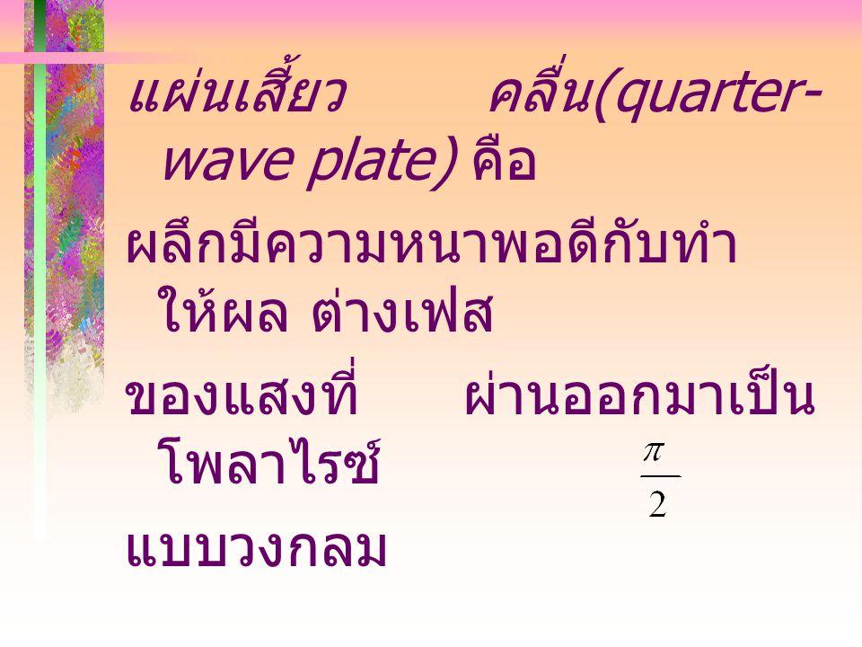 แผ่นเสี้ยว คลื่น(quarter-wave plate) คือ